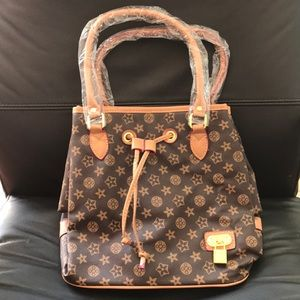 Handbags - Brand New Brown and Tan Print Purse